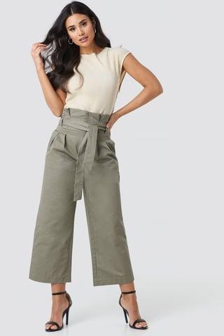 Green Tied Waist Wide Cotton Pants