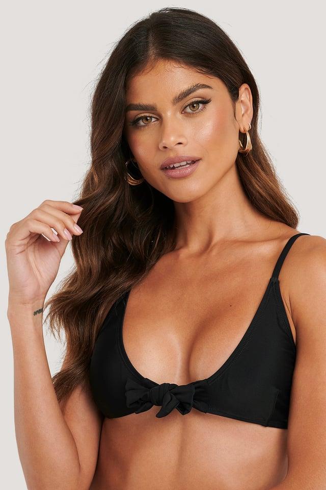 Black Tied Front Bikini Top