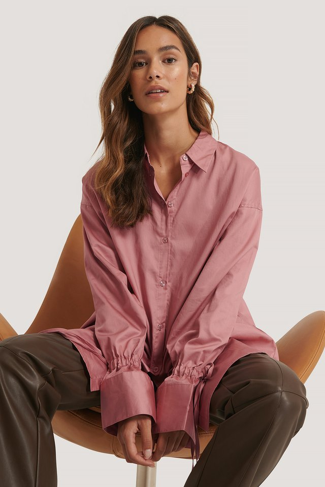Recyclée Chemise Manches À Noeuds Dusty Pink