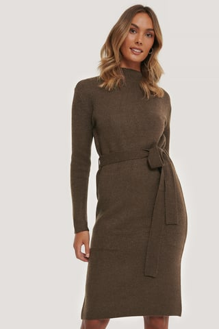 Brown Tied Waist Knitted Dress