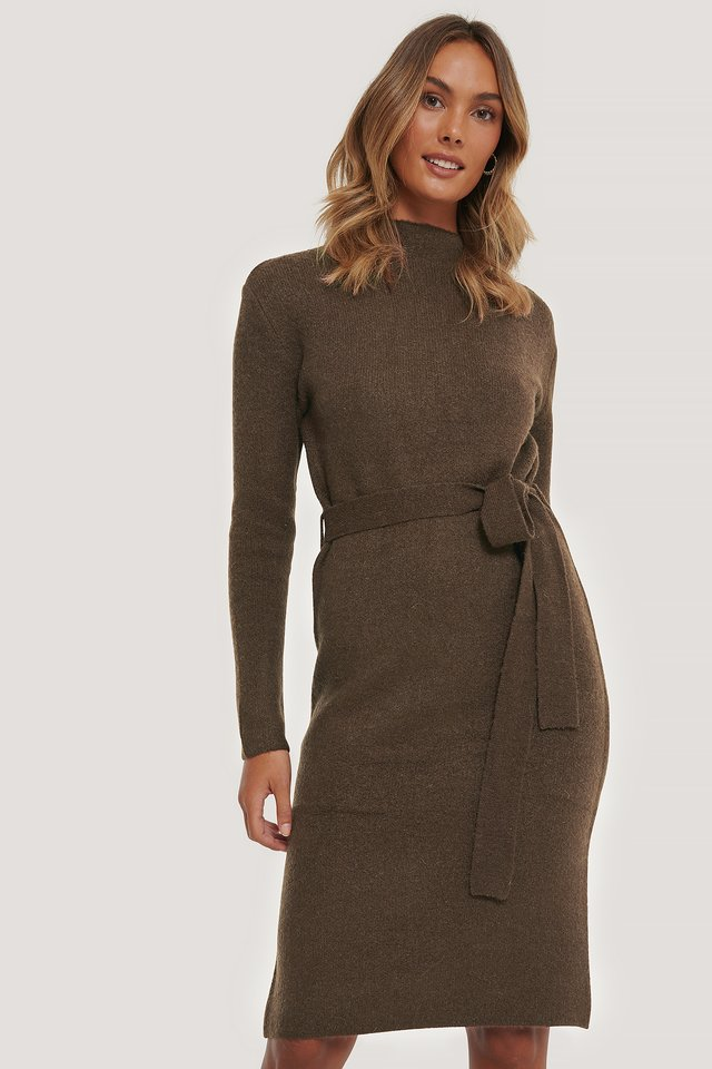 Tied Waist Knitted Dress Brown