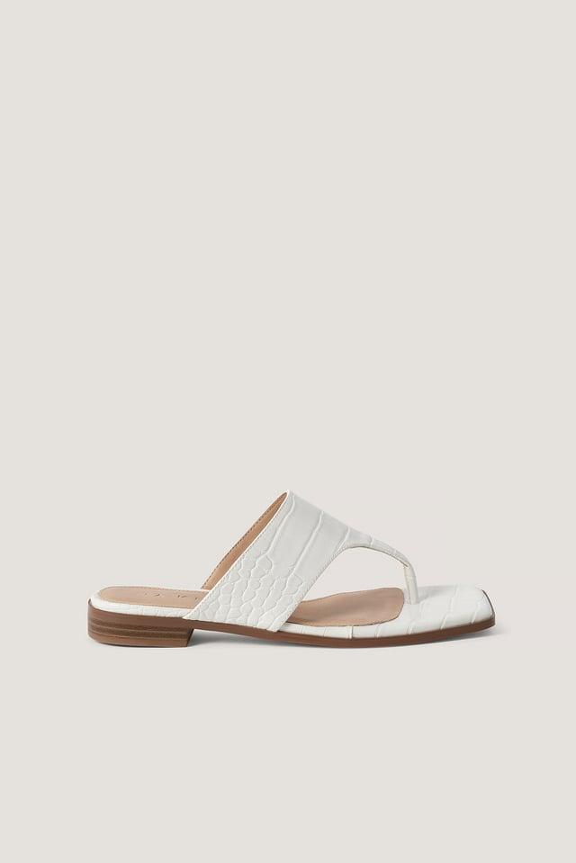 White Sandale À Enfiler