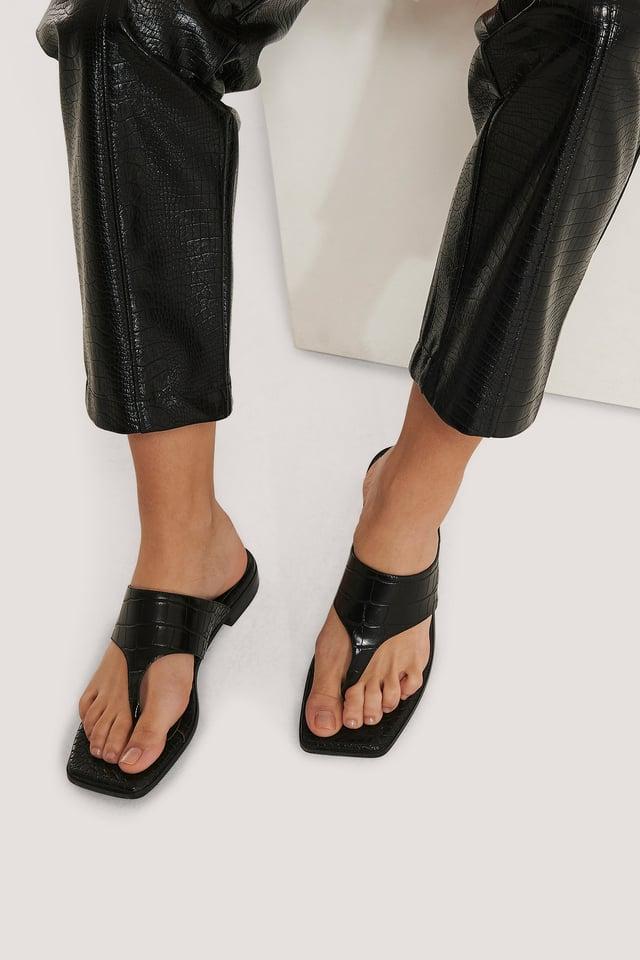 Black Sandale À Enfiler