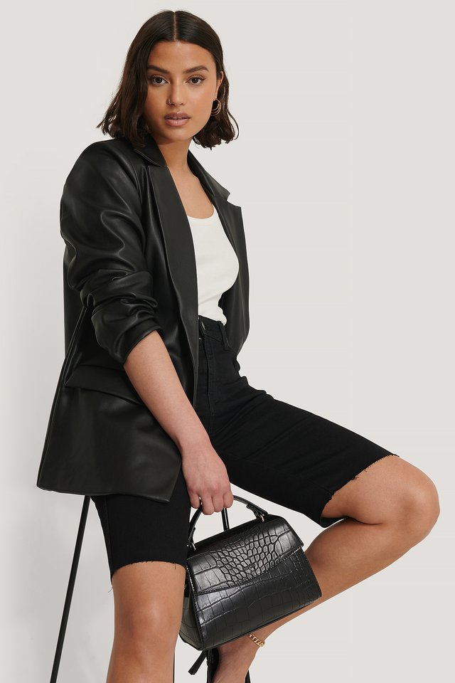 Top Handle Croc Bag Black