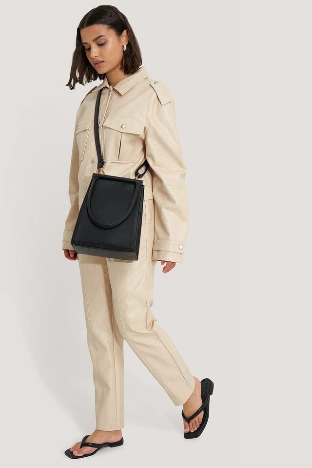 Black Top Handle Trapeze Bag