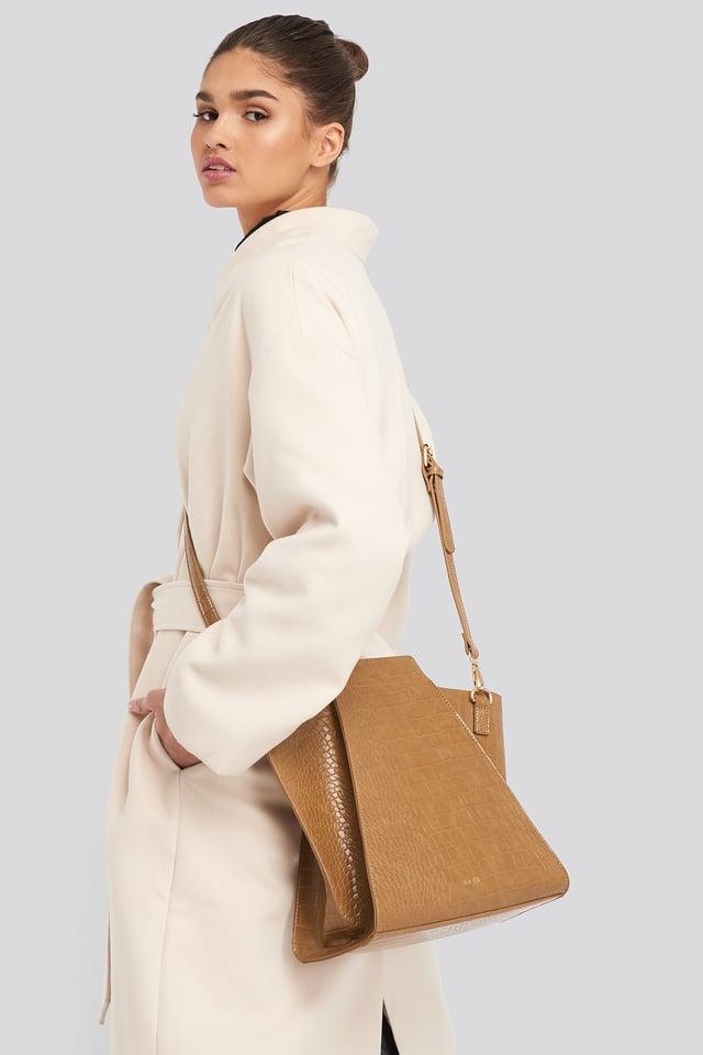 Brown Trapeze Bucket Bag