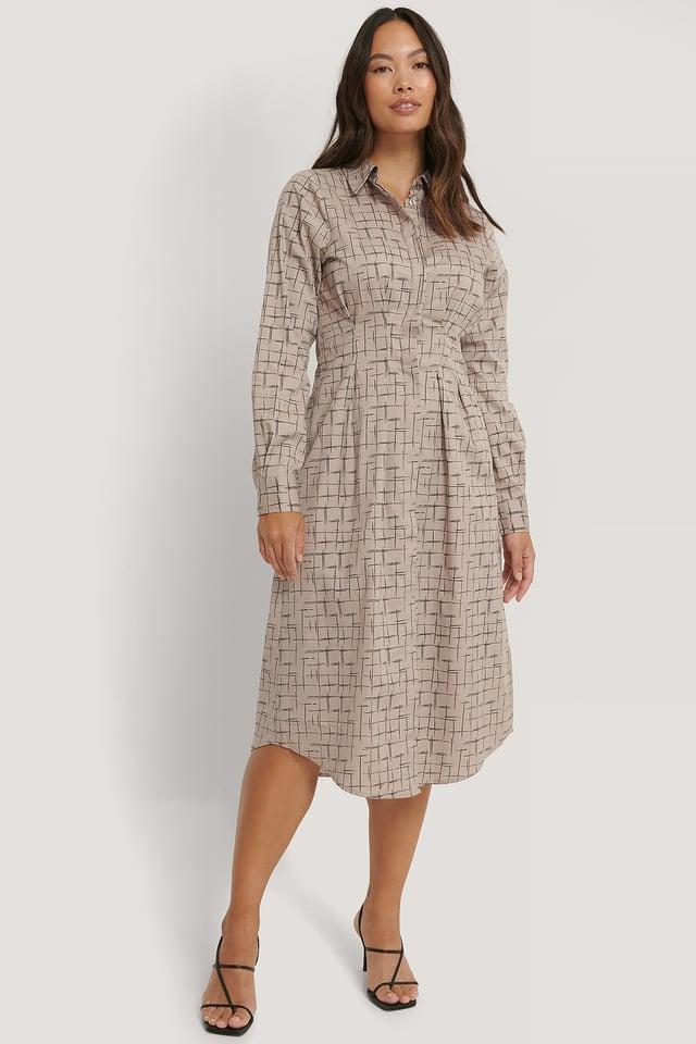 Robe Chemise Mi-Longue Taille Plissée Check