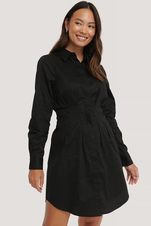 Robe Chemise Courte Taille Plissée Black
