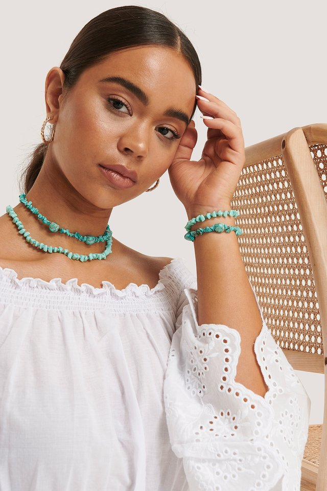 Turquoise Collier Court Double Turquoise