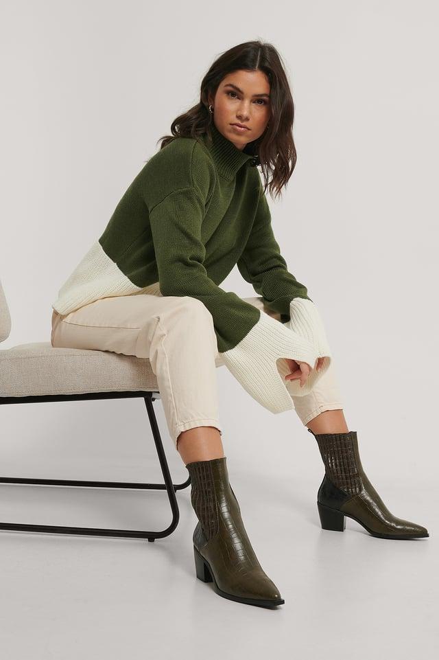 Green/White Pull Tricoté Bicolore