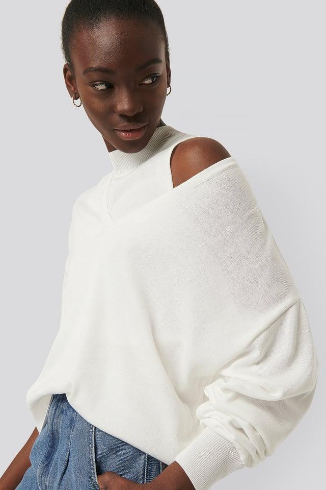 Sweatshirt En Tricot Fin Ecru