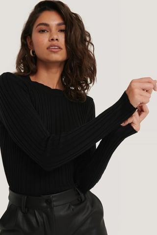 Black Uneven Rib Long Sleeve Top