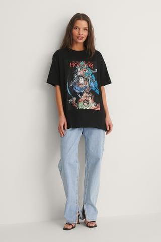 Black Vintage Poster T-Shirt Imprimé Unisexe