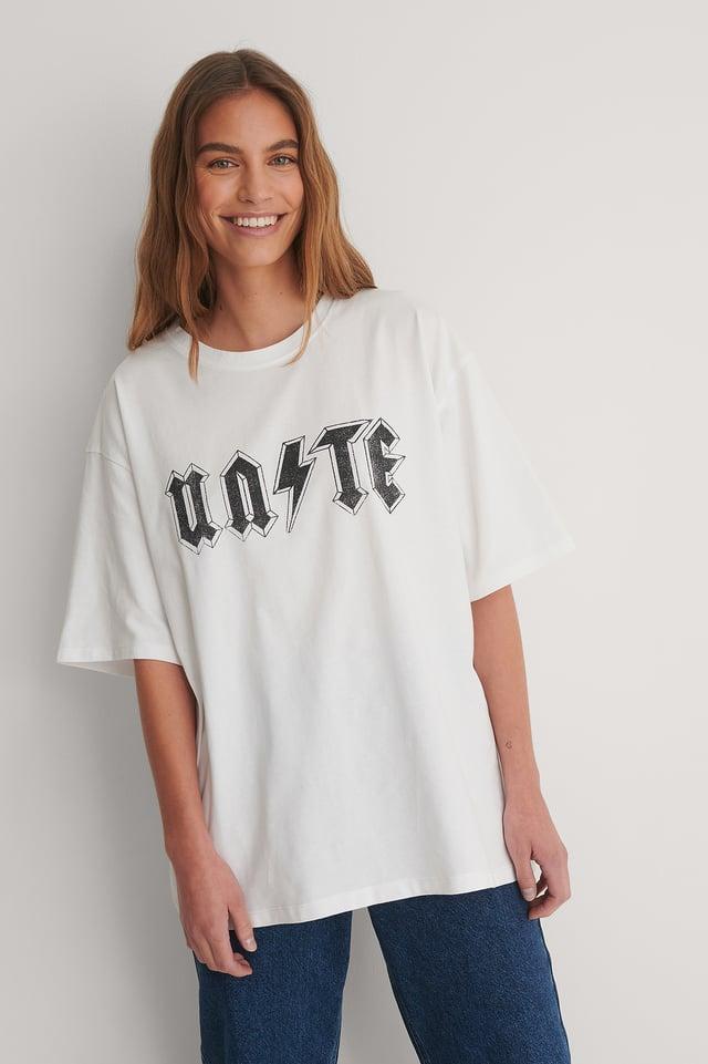 White Biologique T-shirt Imprimé