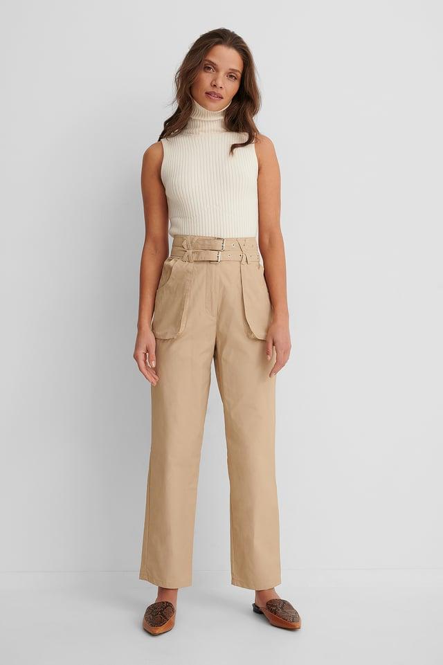 Pantalon Ample Avec Ceinture Beige
