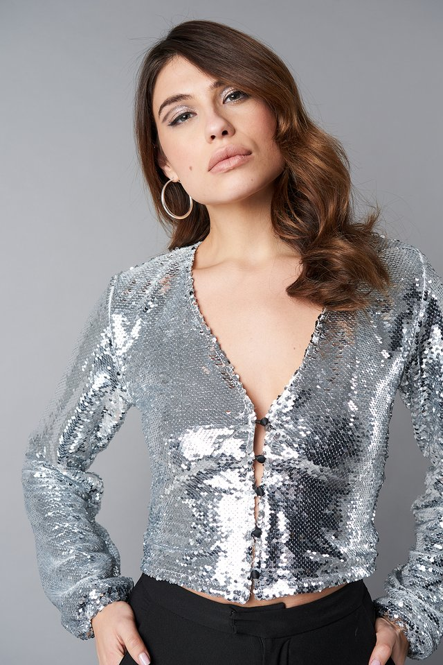 Silver V-Neck Sequins Balloon Sleeve Top
