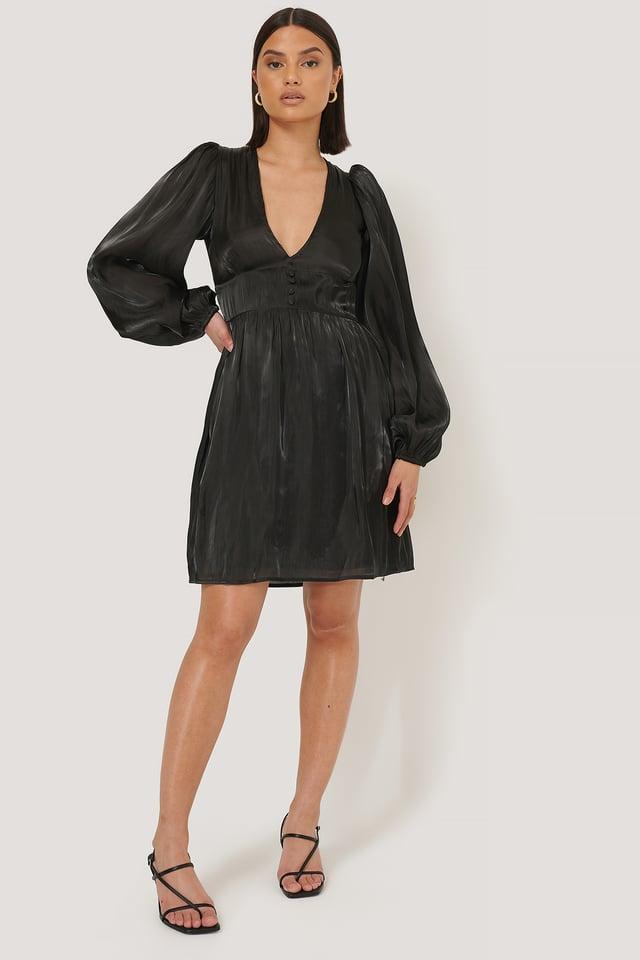 V-shape Structured Satin Dress Black