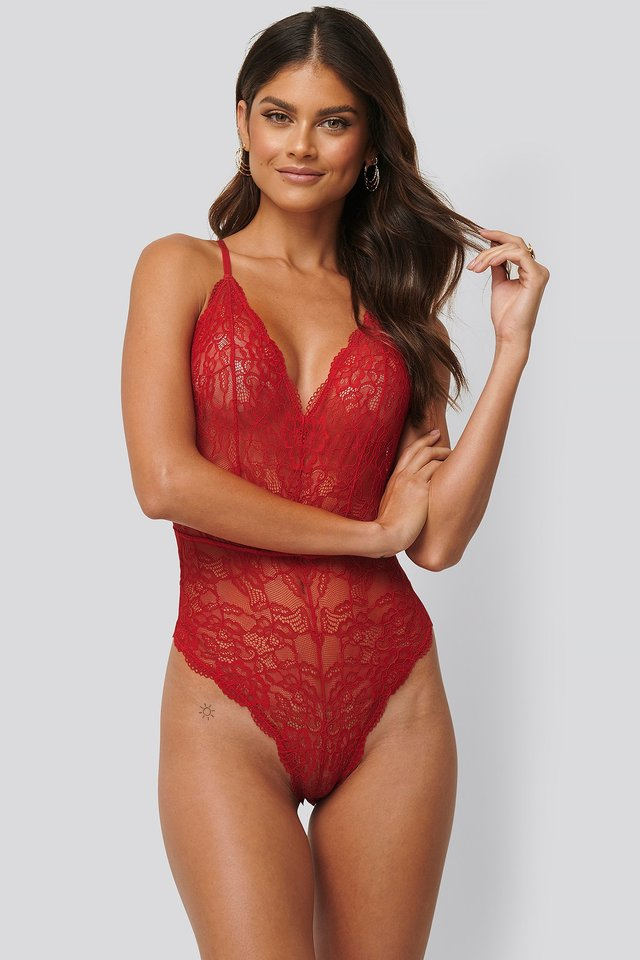 Body En Dentelle Red