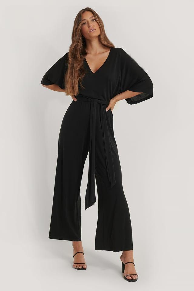 Combinaison Pantalon Col En V Black