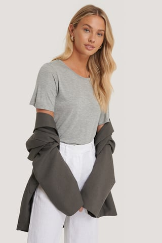 Grey Melange Viscose Basic Tee