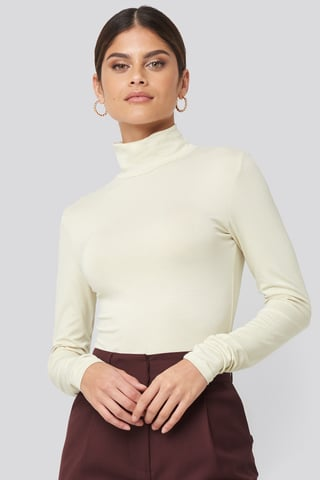 Dusty Light Beige Viscose Long Sleeve Polo Top