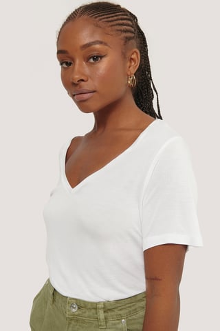 White Viscose V-Neck Tee