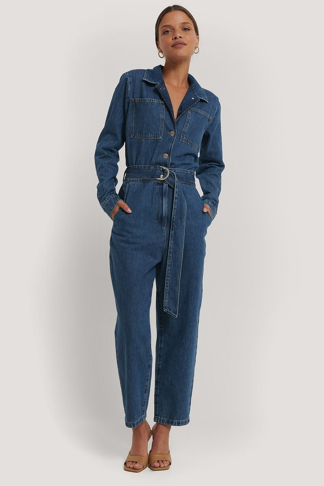 Combinaison Pantalon Jean À Ceinture Blue