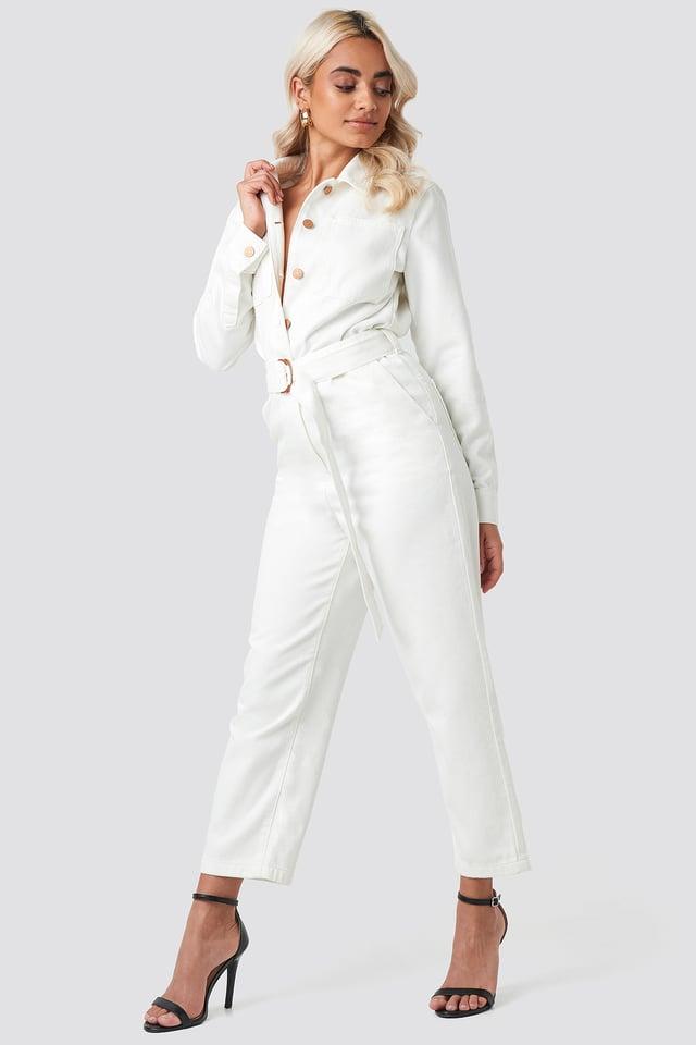 Combinaison Pantalon Jean À Ceinture Beige