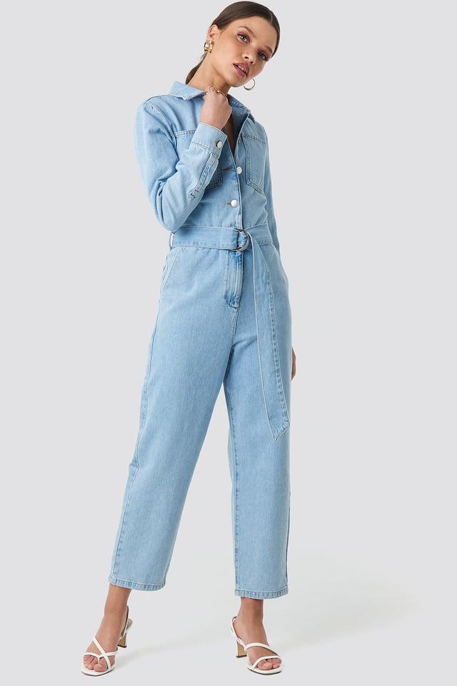 Combinaison Pantalon Jean À Ceinture Light Blue Wash