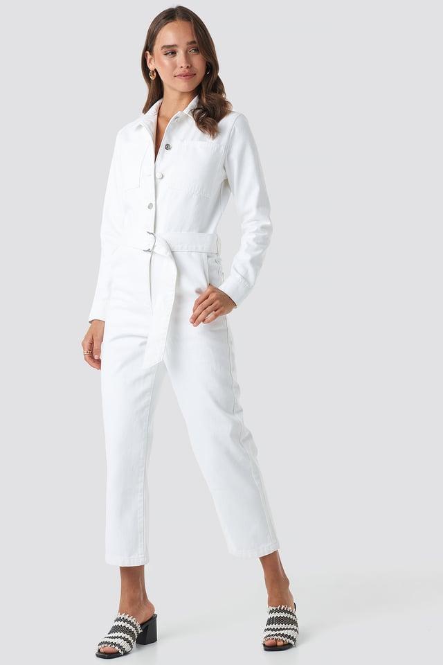 Combinaison Pantalon Jean À Ceinture White
