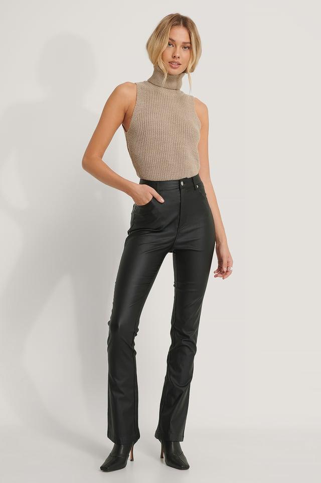 Black Pantalon Évasé Ciré