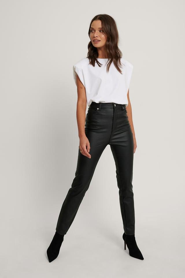 Black Pantalon Taille Haute Ciré