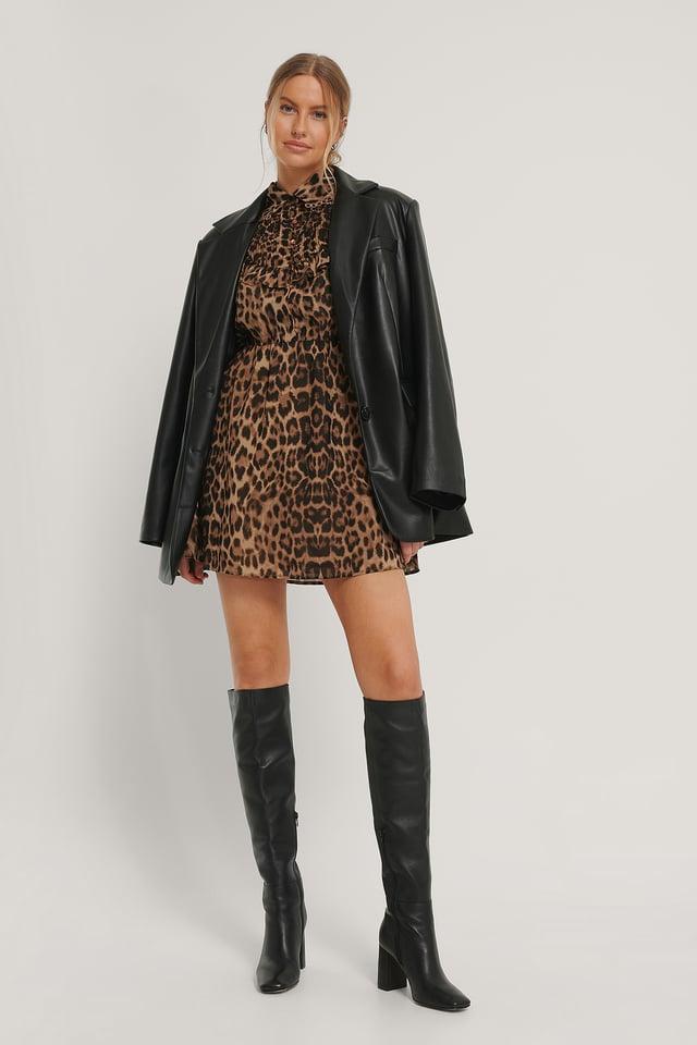 Robe En Mousseline À Détails Western Leopard