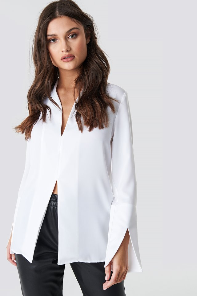 Wide Cuff Slit Detail Blouse White