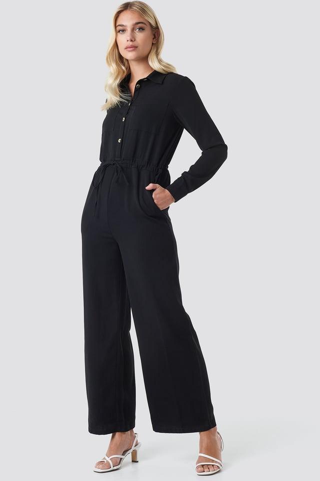 Wide Drawstring Jumpsuit Black