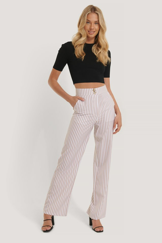 Pantalon Large Fluide White/Beige Stripe