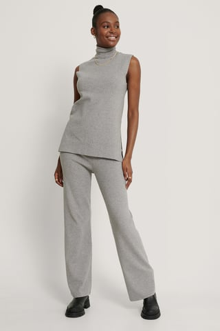 Grey Pantalon Large En Maille