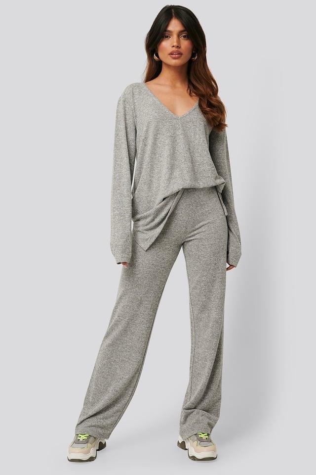 Pantalon Large En Maille Grey Melange