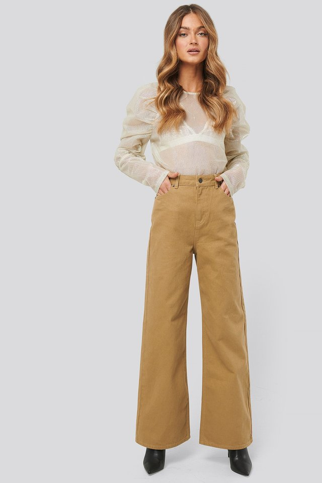 Wide Leg High Waisted Jeans Beige