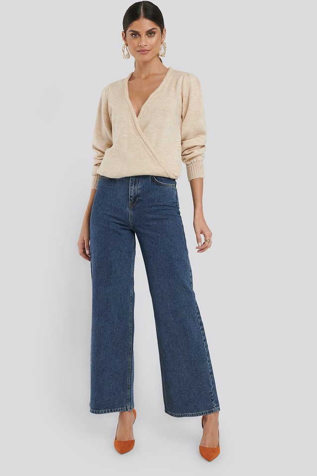 Wide Leg High Waisted Jeans Mid Blue