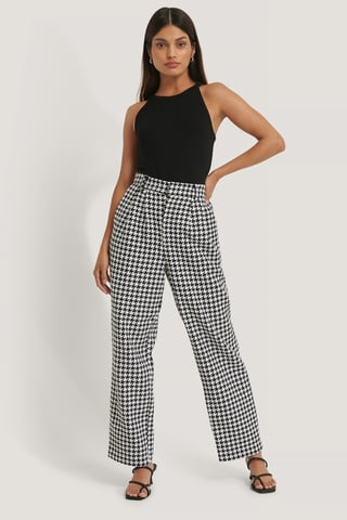 Black/White Pantalon Large Pied-De-Poule