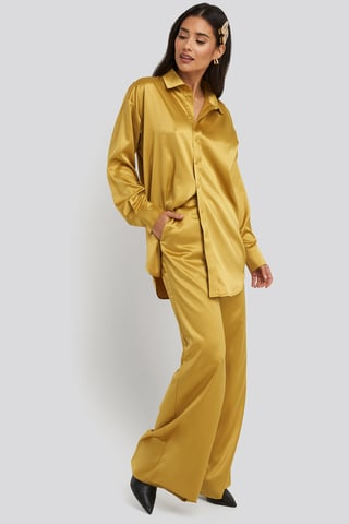 Yellow Wide Leg Satin Pants