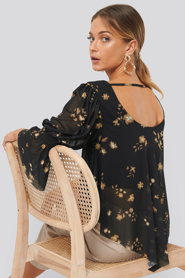 Wide Neck Mesh Top Printed