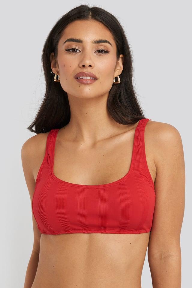 Red Wide Ribbed Bikini Top