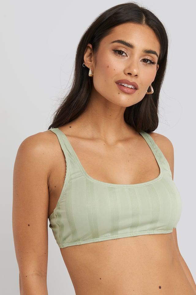 Dusty Green Wide Ribbed Bikini Top
