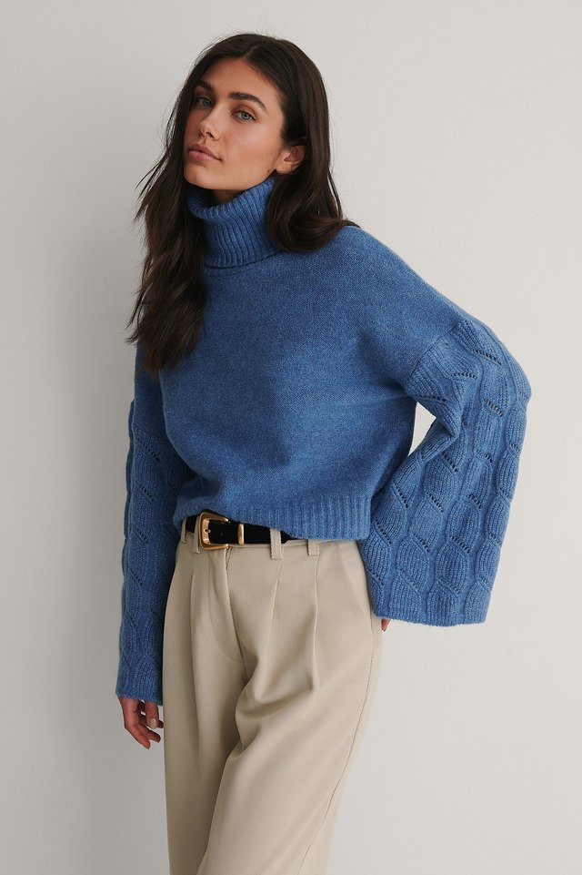 Pull Tricoté Manches Larges Dark Blue