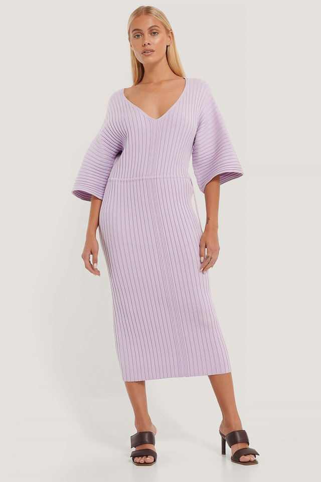 Robe En Tricot À Manches Larges Light Purple
