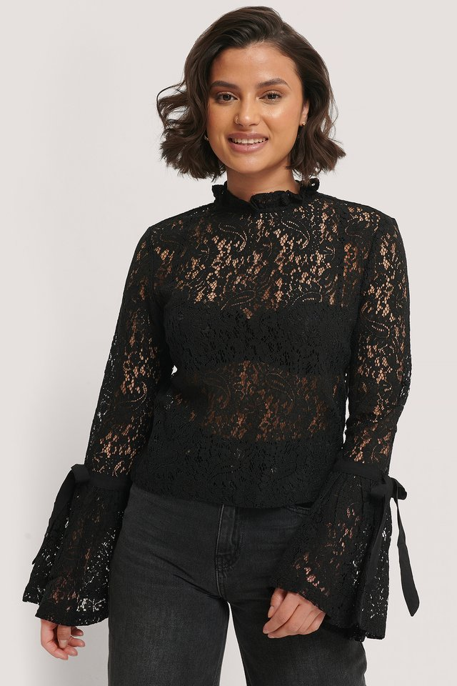 Black Wide Sleeve Lace Top