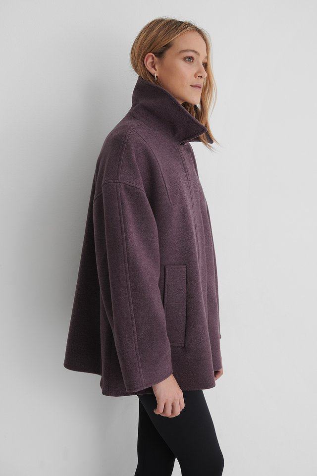 Dark Purple Manteau Court