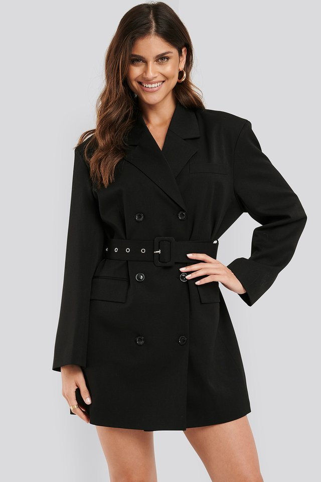 Wide Shoulder Belted Blazer Dress Black